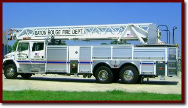 Aerial 6 White fire truck with ladder